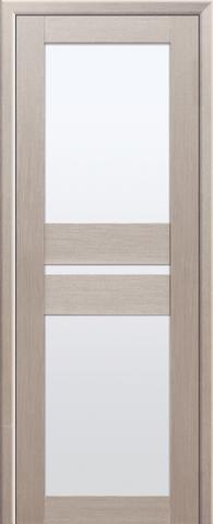 Дверь Визаж Плазма ДО, стекло белое, цвет капучино, остекленная