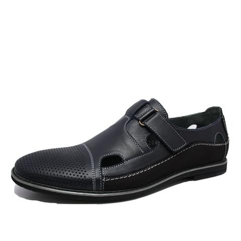 Мужские летние туфли спортивного стиля кожаные Икос. На липучках, темно синий/черный цвета.