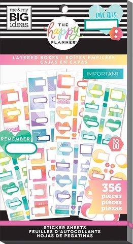 Блокнот со стикерами для ежедневника -Happy Planner Sticker Value Pack- Layered Boxes, 356 шт