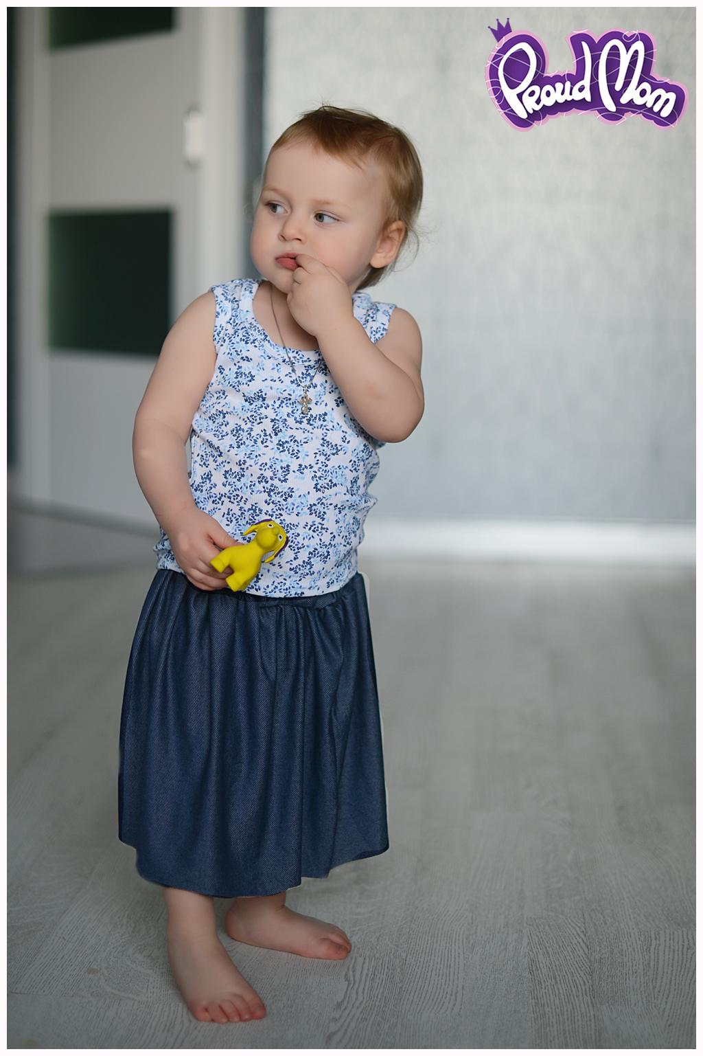 Юбочка детская синий джинс - фото 1