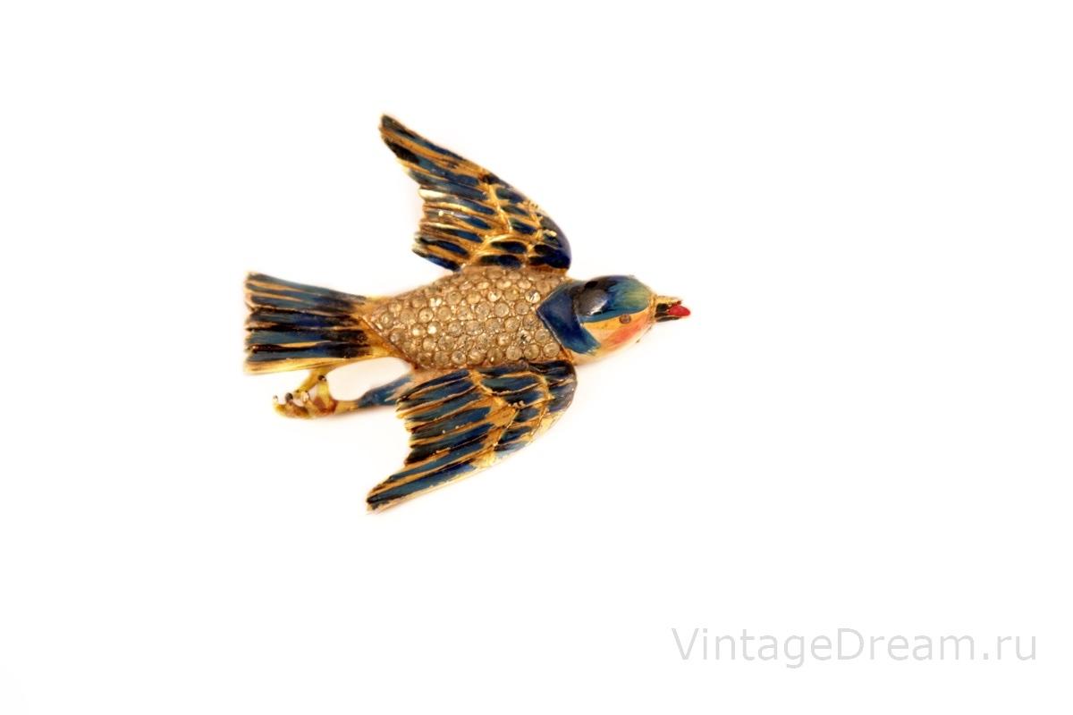 "Редкая, коллекционная серебряная брошь ""Птица"" от Corocraft, 40-е гг.  |  Rare CORO Enameled Sterling Silver Bluebird brooch"