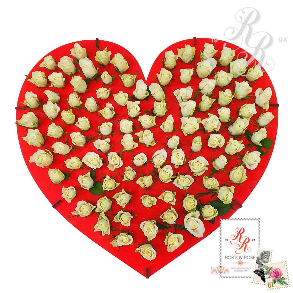 101 роза в пробирке - бокс сердце