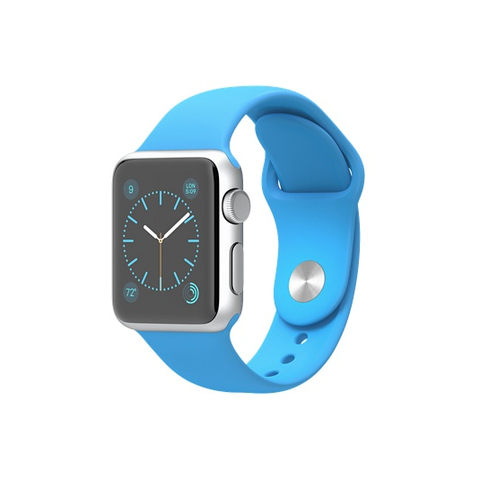 Apple Watch Silver Aluminum Case with Blue Sport Band