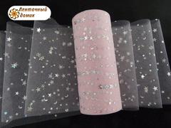 Фатин звездное небо светло-розовый ширина 15 см
