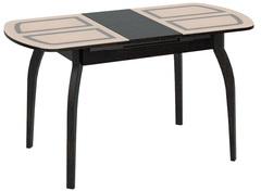 Стол обеденный раздвижной со стеклом с рисунком на деревянных ножках Милан