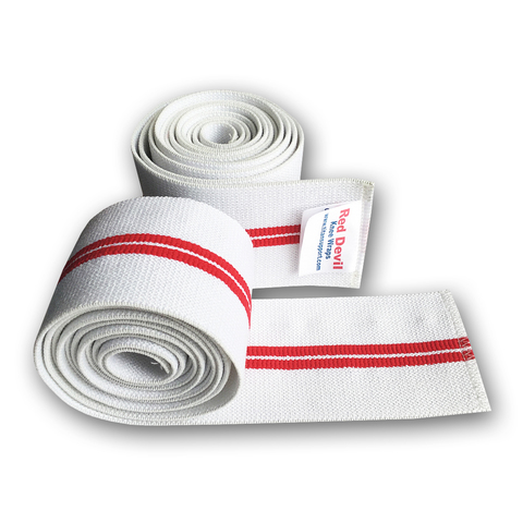 Купить коленные бинты TITAN Red Devil Knee Wraps для пауэрлифтига и приседаний со штангой разрешенные в IPF
