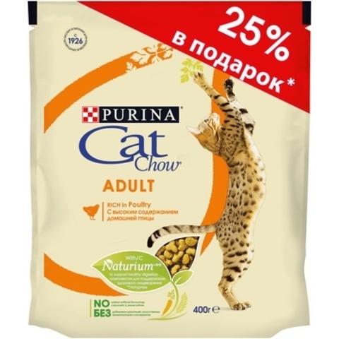 ПРОМО! Cat Chow сухой корм для взрослых кошек с птицей 300г + 100г