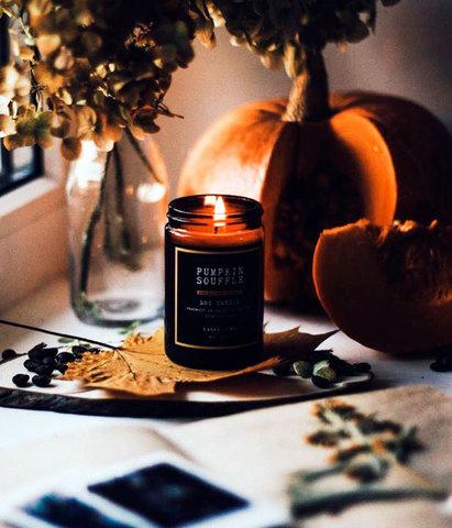 Свеча ароматическая в темном стекле Тыквенный чай латте, Banka home