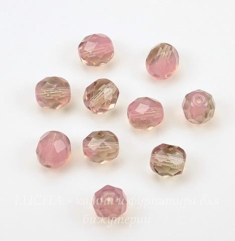 Бусина с огранкой (цвет- розовый+раухтопаз) 8х7 мм , 10 штук