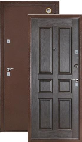 Дверь входная Бульдорс 102, 2 замка, 1,5 мм  металл, (медь антик+венге)
