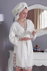 НАБОР 2 предмета: BIANCA кремовый махровый женский халат и полотенце 50х100 Tivolyo Home (Турция)