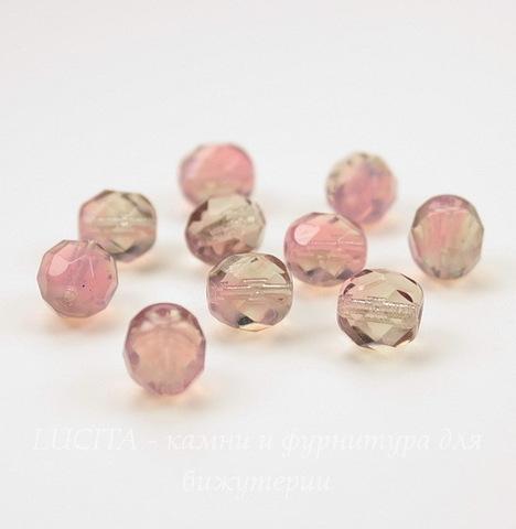 Бусина с огранкой (цвет - розовый+раухтопаз) 8х7 мм , 10 штук