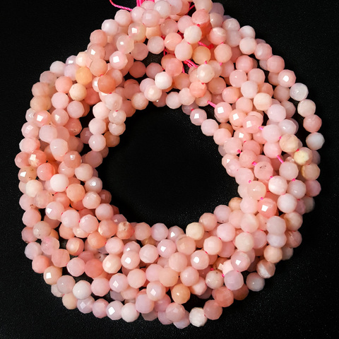 Бусины розовый опал А граненый 4,2 мм нить 19 см