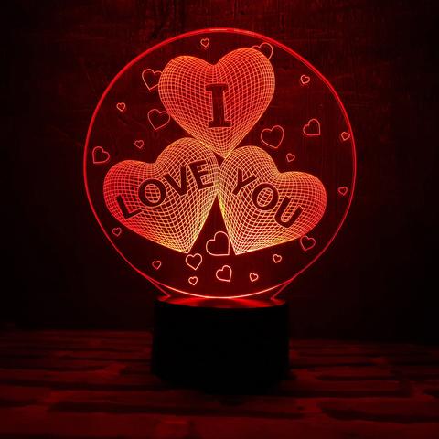 Ночник Три сердца I LOVE YOU