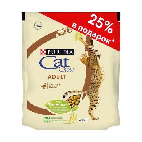 ПРОМО! Cat Chow сухой корм для взрослых кошек с уткой 300г + 100г