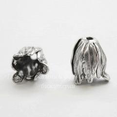 Винтажный декоративный элемент - шапочка в виде тюльпана 12х10 мм (оксид серебра)