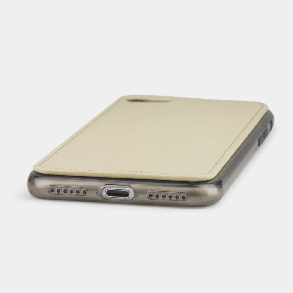 Чехол-накладка для iPhone 8 из натуральной кожи теленка, молочного цвета