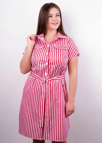 Ирина. Платье-рубашка больших размеров. Красная полоса.