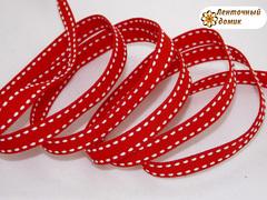 Лента репсовая красная со строчками ширина 9 мм