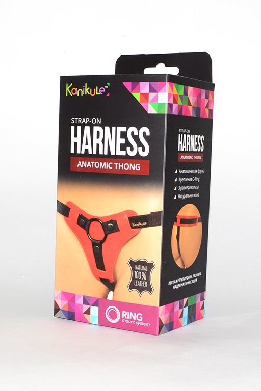 Трусики и насадки: Красно-чёрные трусики для фиксации насадок кольцом Kanikule Leather Strap-on Harness Anatomic Thong