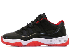 Кроссовки Мужские Nike Air Jordan XI Low Black White Red