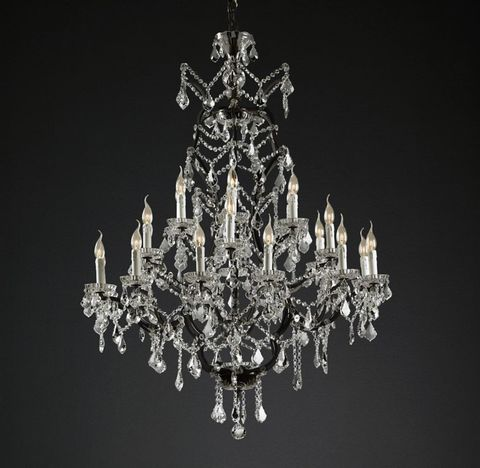 19th C. Rococo Iron & Clear Crystal Round Chandelier 40