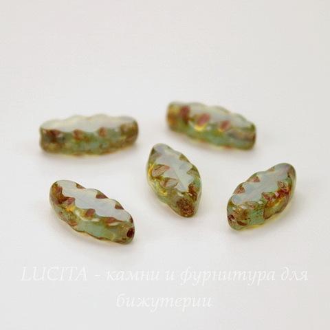 """Бусина """"Резная """"navette"""" (цвет - бирюзовый) 12х6 мм , 5 штук"""