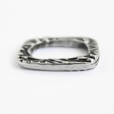 "Коннектор прямоугольный TierraCast ""Жардин"" 19х15 мм (цвет-античное серебро)"