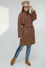 Пальто прямого силуэта на поясе
