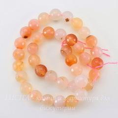 Бусина Агат, шарик с огранкой, цвет - бледный персиковый, 10 мм, нить