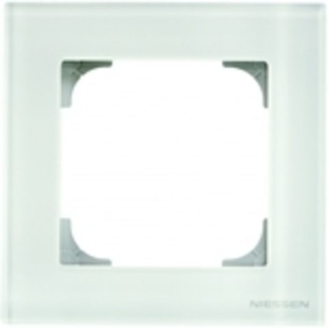 Рамка на 1 пост. Цвет Белое стекло. ABB(АББ). Sky(Скай). 2CLA857100A3001