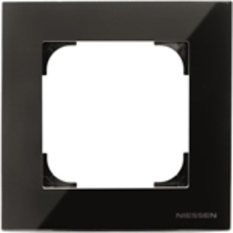 Рамка на 1 пост. Цвет Чёрное стекло. ABB(АББ). Sky(Скай). 2CLA857100A3101