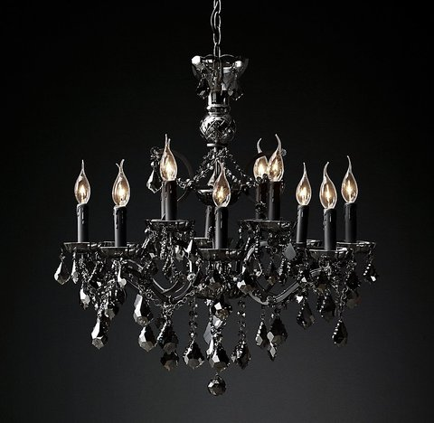19th C. Rococo Iron & Smoke Crystal Round Chandelier 28