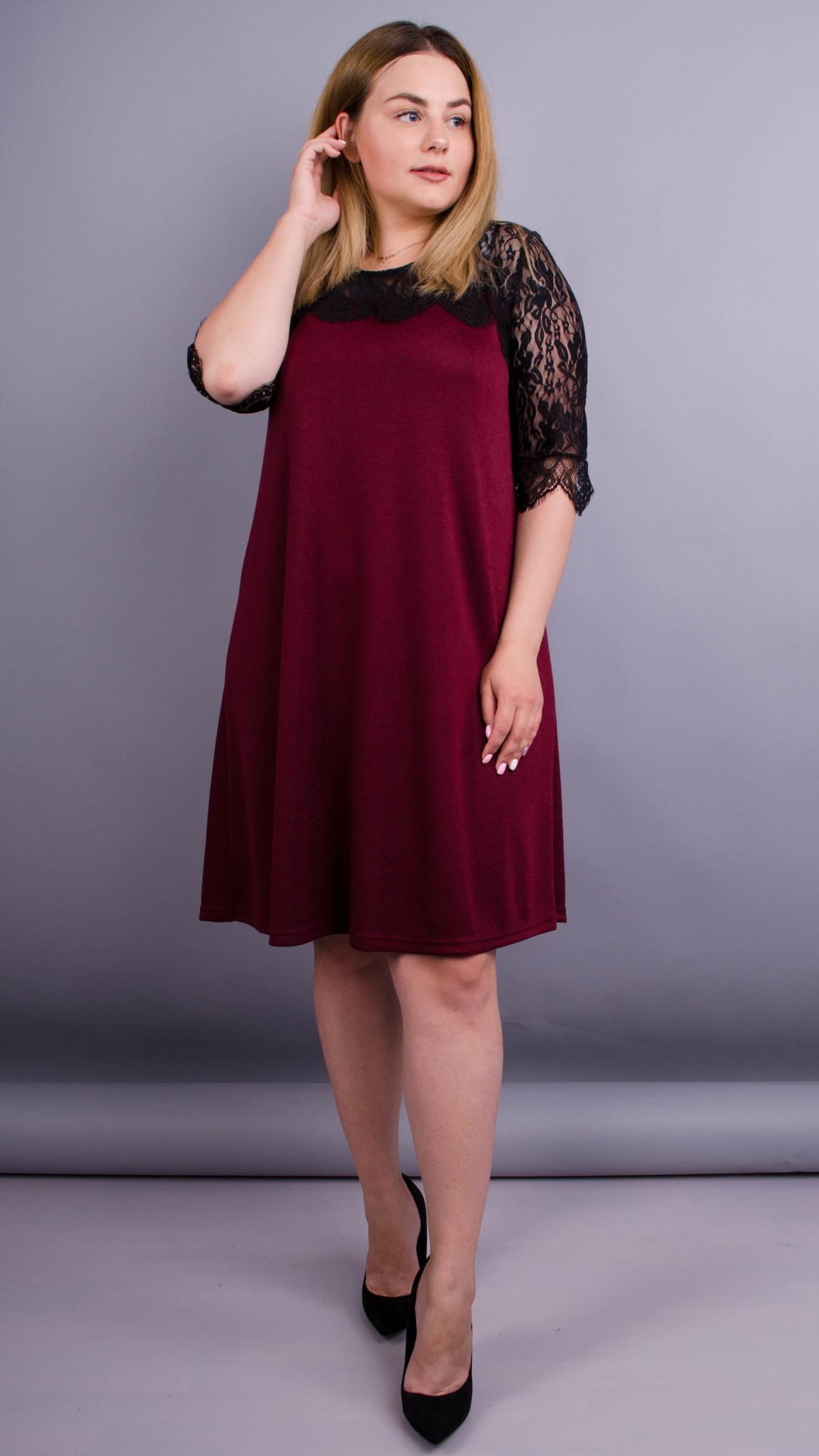 Лайза. Красива сукня великих розмірів. Бордо. - купить по выгодной ... a61a8871ce2cf