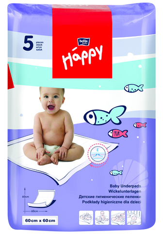 Пеленки одноразовые Bella Baby HAPPY 60х60см, 1уп/ 5шт