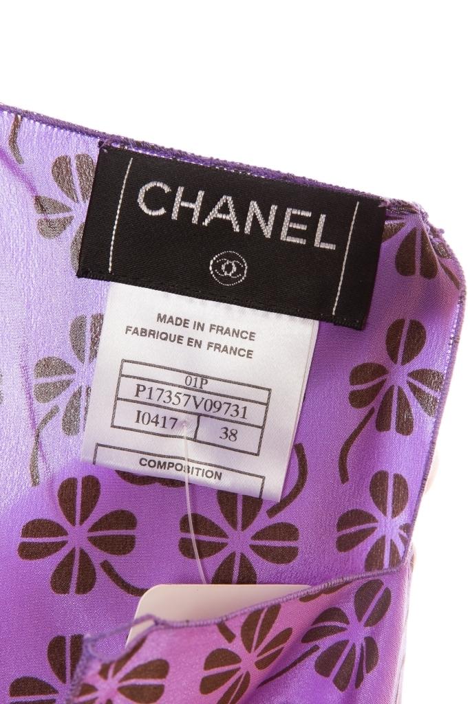 Элегантный летний костюм из шелка сиреневого цвета от Chanel, 38 размер.