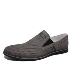 Мужские летние туфли серые, кожаные Икос. Лоферы