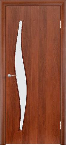 Дверь Сибирь Профиль Волна (С-10), цвет итальянский орех, остекленная