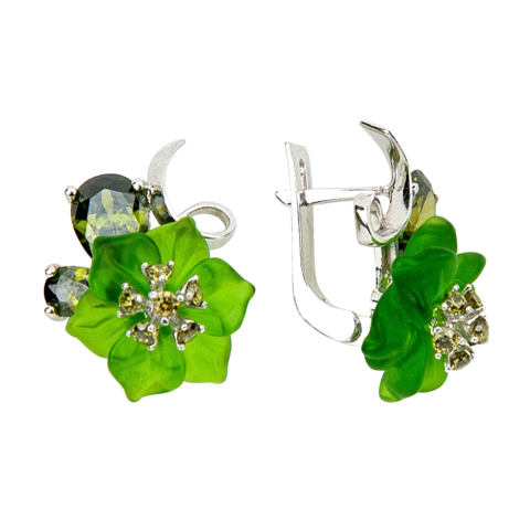 Серьги с цветами из зеленого кварца и вставками из фианита