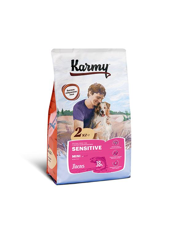 Новинки Корм для взрослых собак мелких пород, Karmy Sensitive Mini, с чувствительным пищеварением, с лососем УТ-00007033.png
