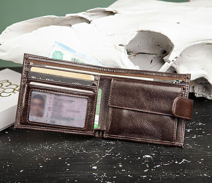 WL321-2 Мужское портмоне из коричневой кожи с монетницей, «Atos»