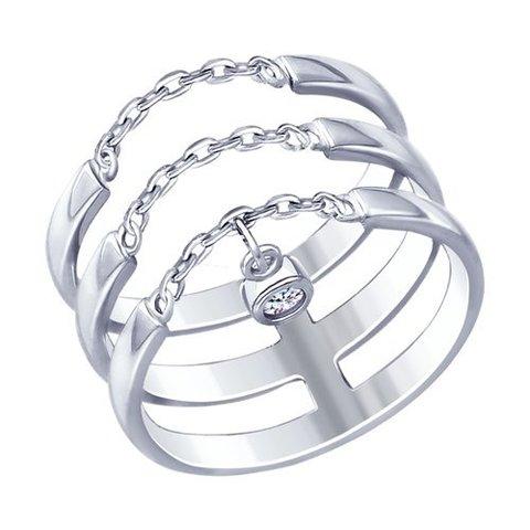 94012661 - Кольцо из серебра с фианитом