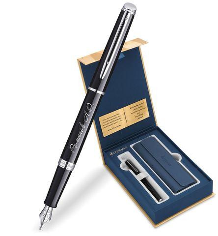 Набор с гравировкой: Чехол и Перьевая ручка Waterman Hemisphere Essential, Black CT