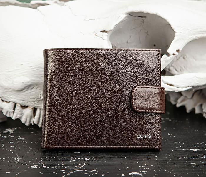 WL321-2 Мужское портмоне из коричневой кожи с монетницей, «Atos» фото 02