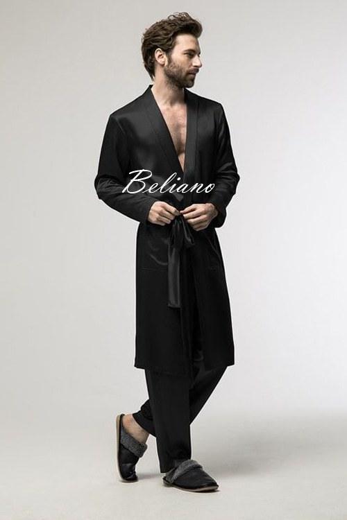 мужской шелковый комплект для дома - короткий халат и брюки из натурального шелка - черный