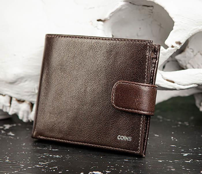WL321-2 Мужское портмоне из коричневой кожи с монетницей, «Atos» фото 03