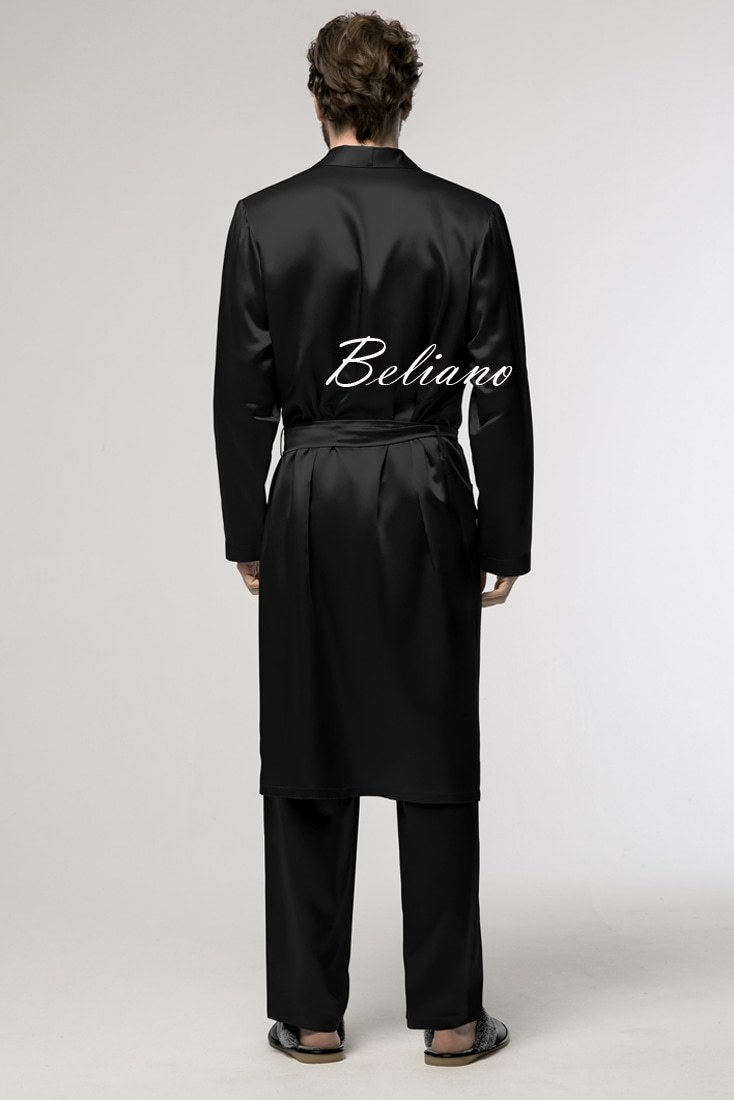 шелковый комплект для дома черного цвета (халат и брюки)
