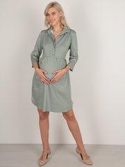 Евромама. Платье-рубашка для беременных горох, олива