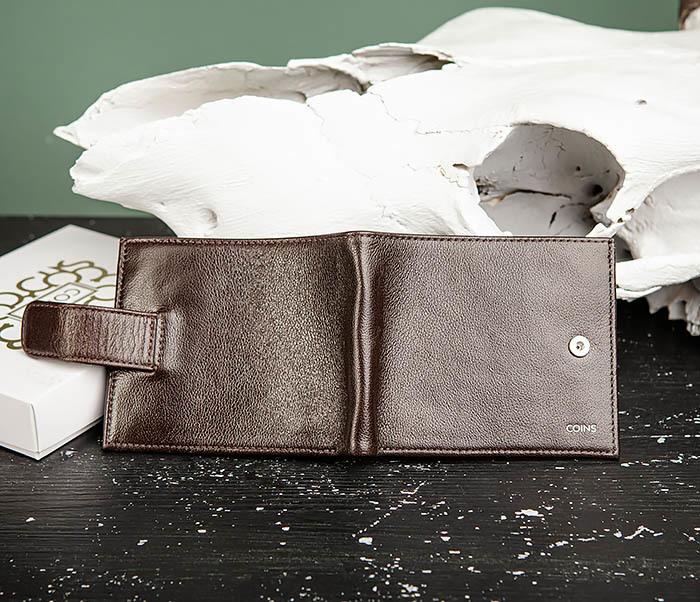 WL321-2 Мужское портмоне из коричневой кожи с монетницей, «Atos» фото 04