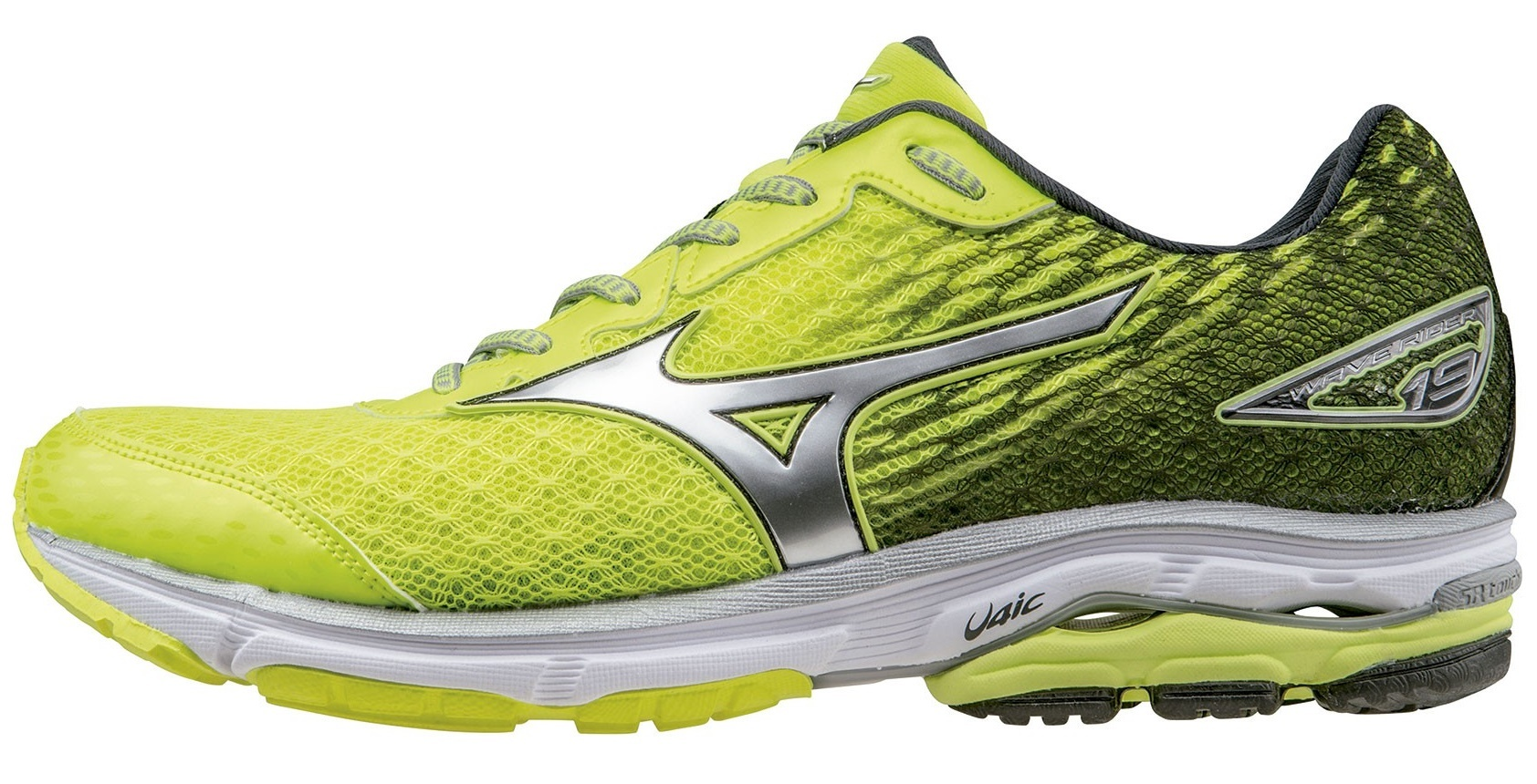 Профессиональные беговые кроссовки для мужчин Mizuno Wave Rider 19 (Мизуно райдер) желтые